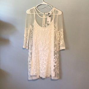 White Lace overlay dress